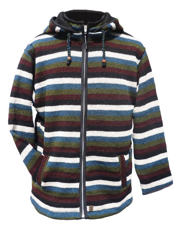 detachable hood - striped jacket - Teal/Brown