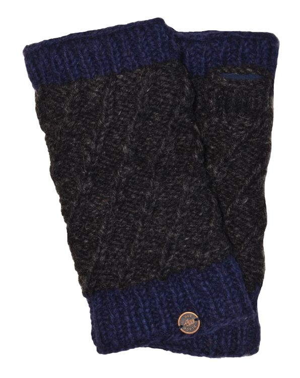 Fleece lined - contrast border - wristwarmer - Charcoal/blue