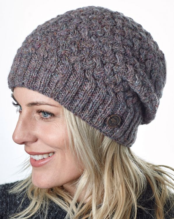 Pure Wool - Weave Baggy Beanie - Pale Heather
