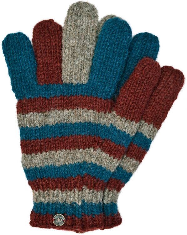 Fleece lined - pure new wool - striped gloves - Brick teal grey