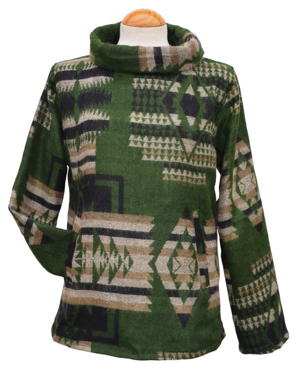Polo Neck - Blanket Pull On - Green/Black