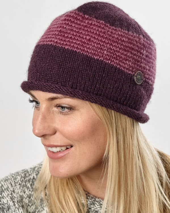 Thin stripes beanie - pure wool - fleece lined - aubergine