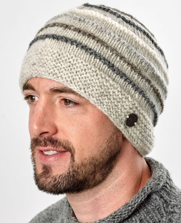 Hand knit - natural ridge beanie - pale grey