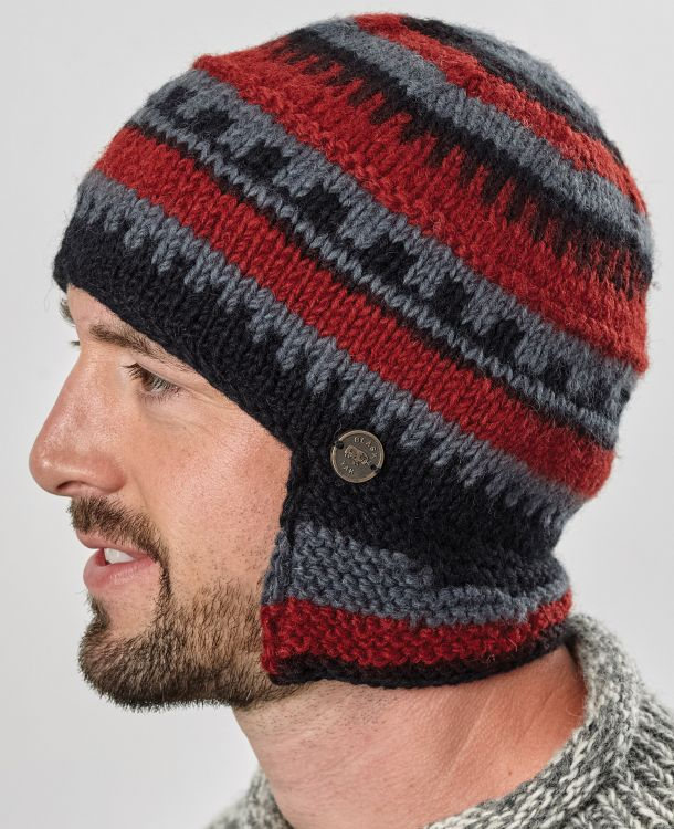 Half fleece lined - helmet hat - Black/Grey/Rust