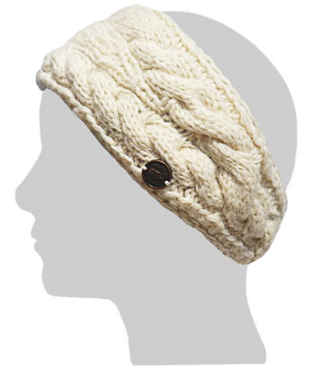 90a3452afca Fleece lined - Headband - Akuti Cable - Cream