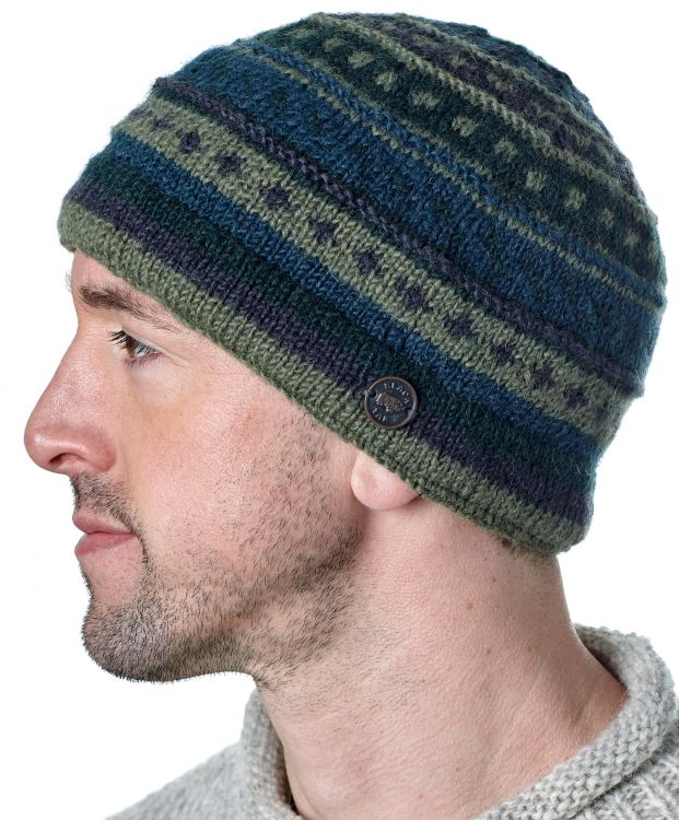 NAYA - Pattern beanie - pure wool - green / blue