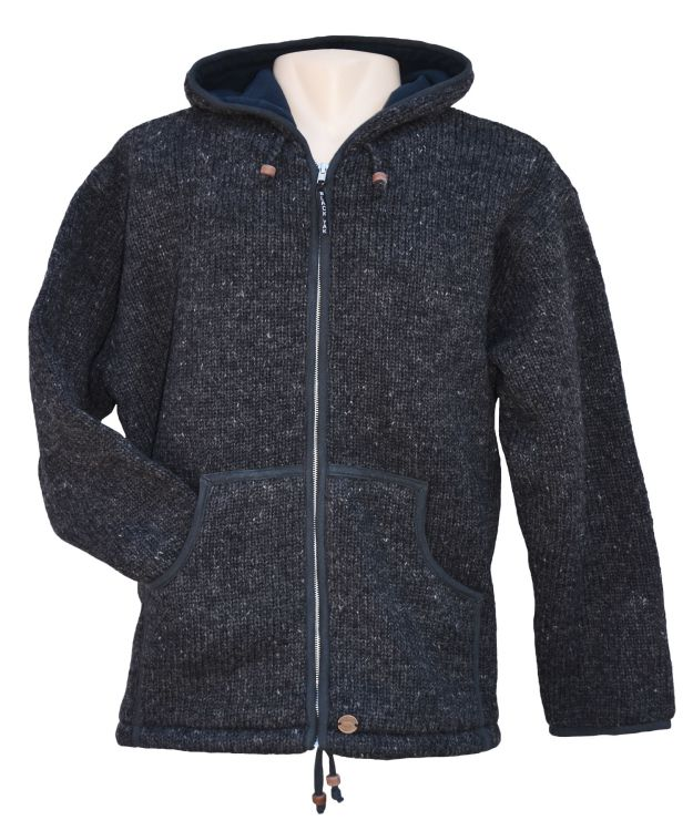 Fleece lined - pure wool - hooded jacket - Charcoal