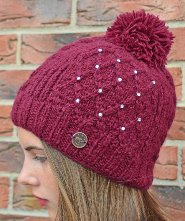 Hand knit - trellis sparkle bobble hat - Berry