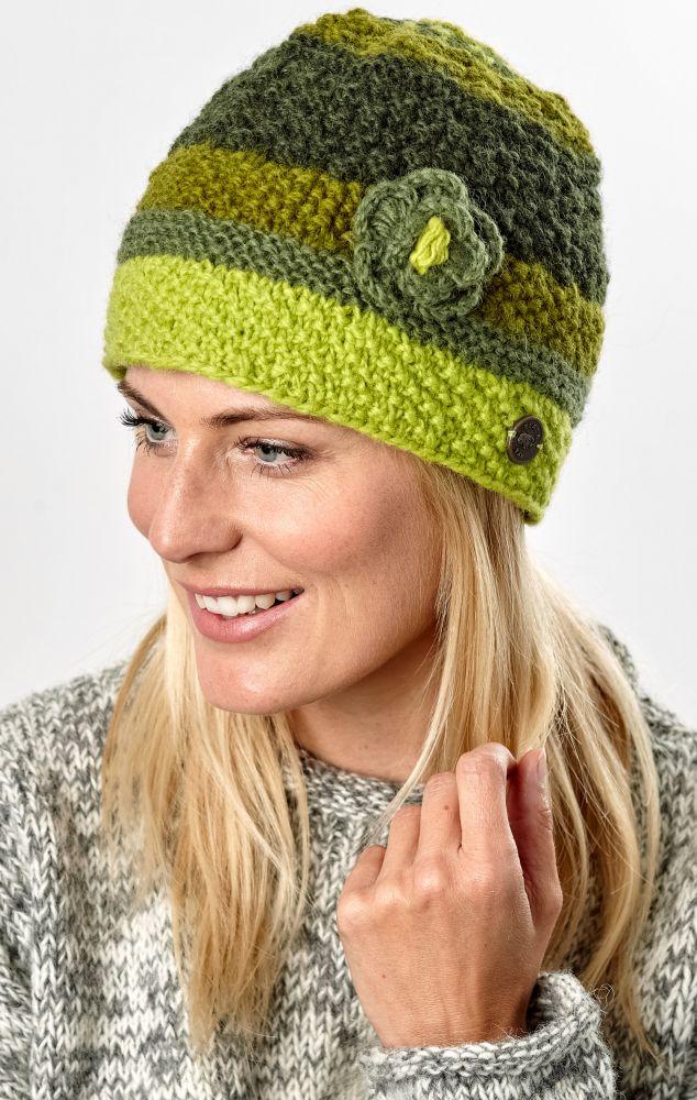 dfc135934d9 Hand knit - half fleece lined - crochet flower - cloche hat - Green ...