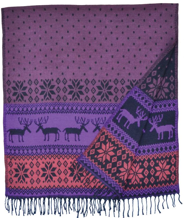 Reindeer - Blanket/shawl - Purple