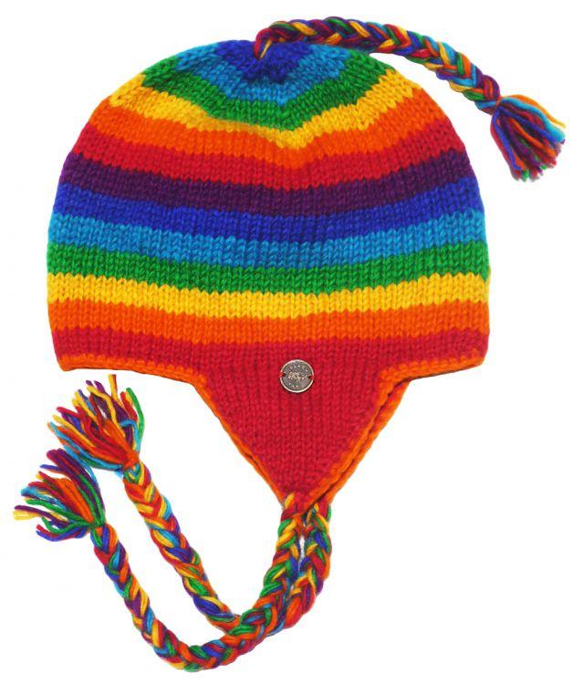 257927ef Half fleece lined - pure wool - stripes - ear flap hat - Rainbow | Black Yak