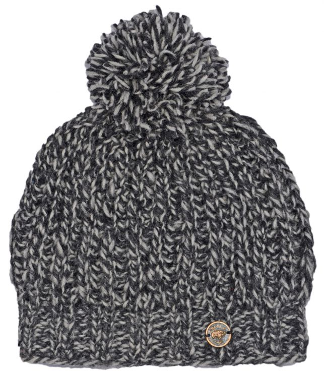 Pure wool - chunky rib bobble hat - two tone grey