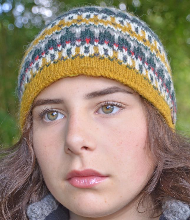 hand knit - multi-patterned beanie - mustard