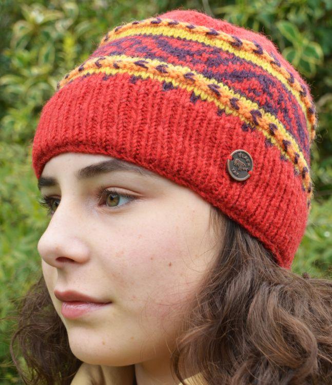 6d5eafe7d9b Hand knit - NAYA - pattern band - beanie - red
