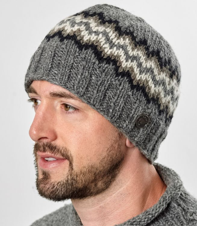 Half fleece lined - zig zag beanie - Mid grey