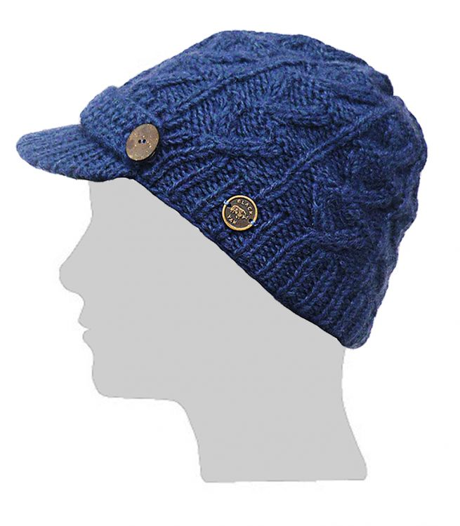 Hand knit - half fleece lined - cable - peak hat - Blue