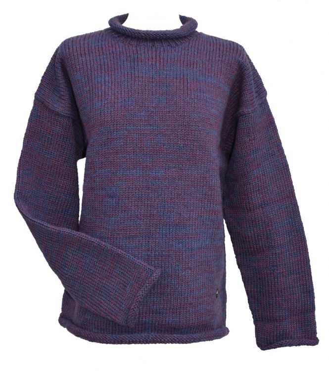 hand knit jumper -  two tone - Grape/blue