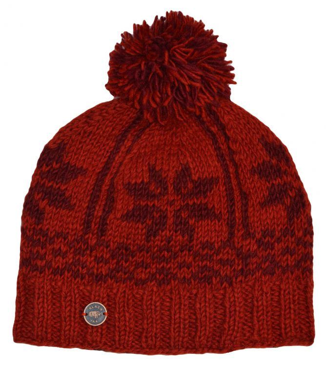 pure wool - snowflake band bobble - Deep reds