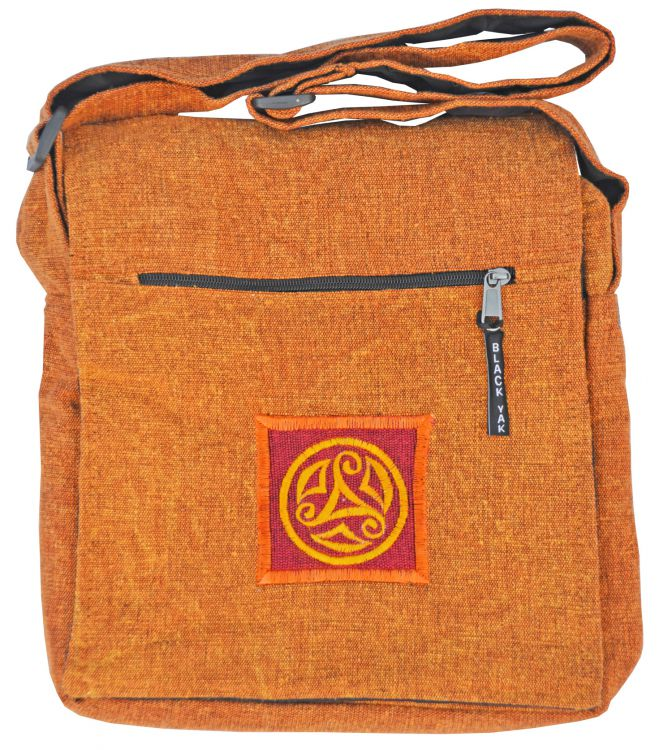 Stonewashed -  motif multi zipped bag - burnt orange