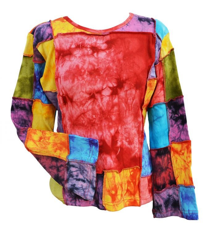 Large Squares - tie dye Top - rainbow patches