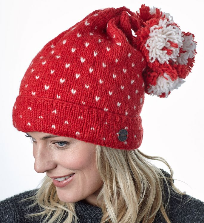Seven bobble tick hat - pure wool - red