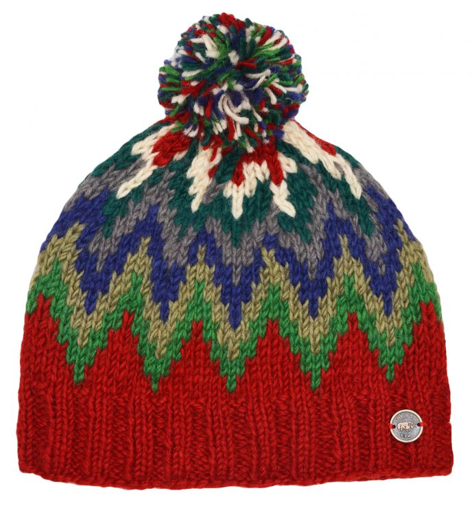 hand knit - flash bobble hat - rust/multi