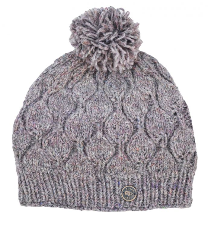 Hand knit - heather leaf bobble hat - Pale heather