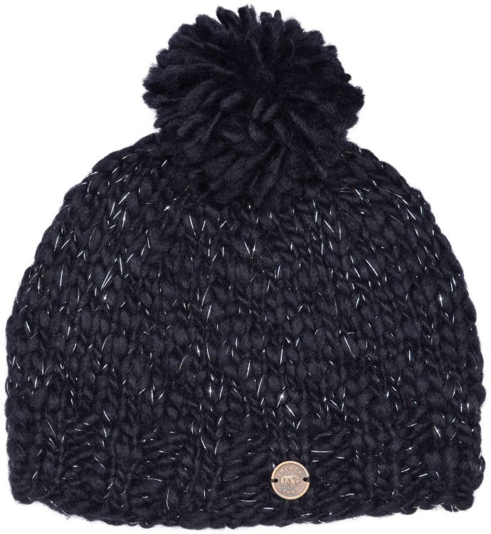 Hand knit -Pure soft wool bobble hat - Black Sparkle