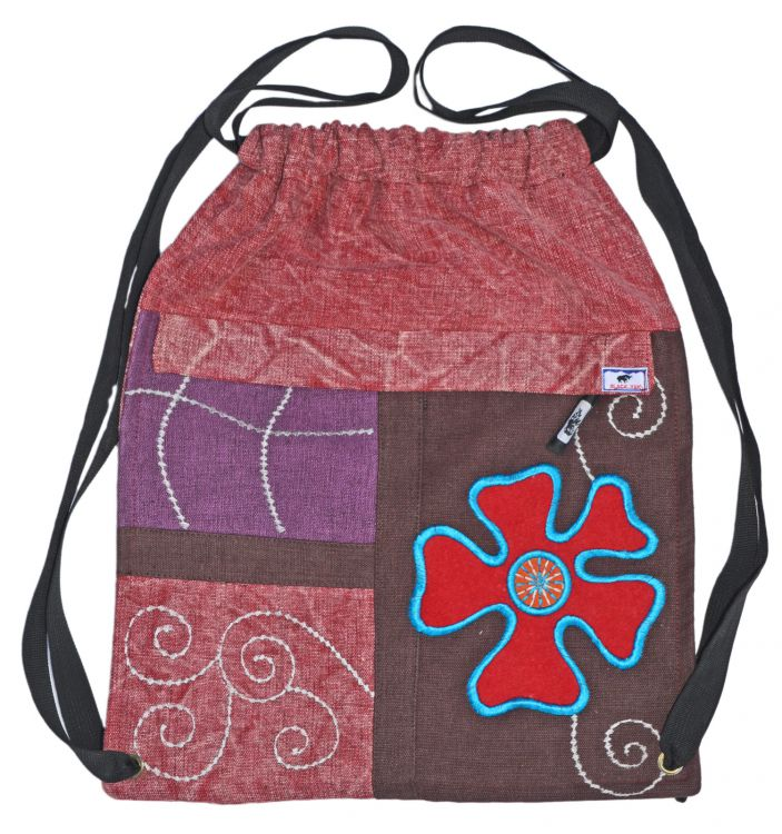 Hand embroidered - heavy cotton duffle bag - pink/brown