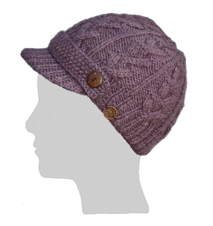Hand knit - half fleece lined - cable - peak hat - grape