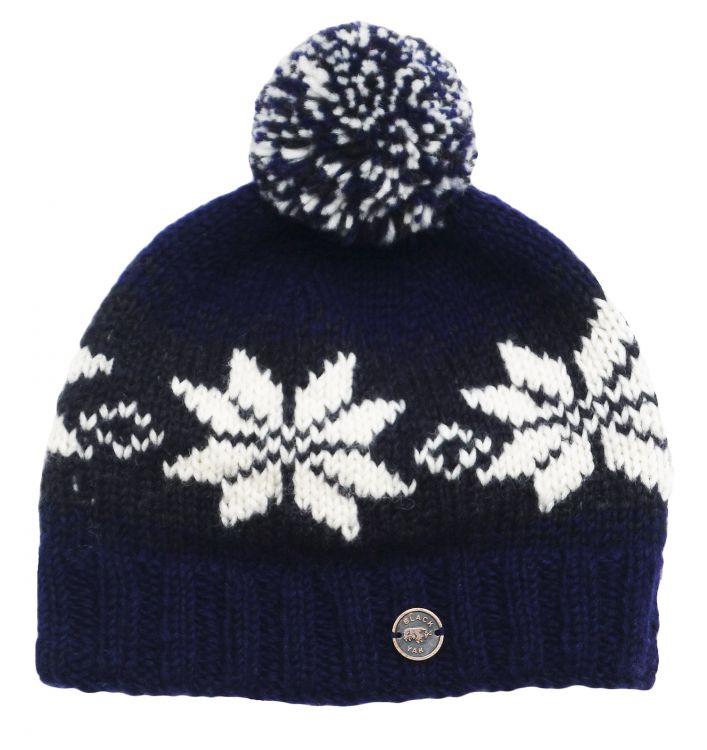 pure wool - snowflake bobble hat - Blue/Smoke