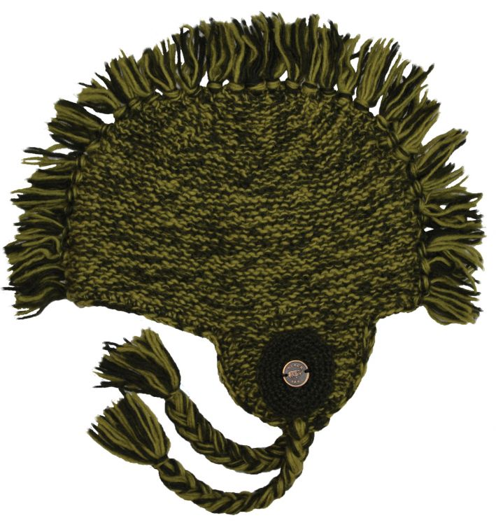 half fleece lined - medallion mane ear flap - Green