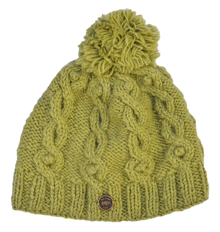 pure wool - cable bobble hat - pear green