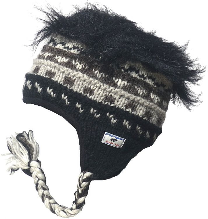 half fleece lined - hairy ear flap hat - Natural/Black