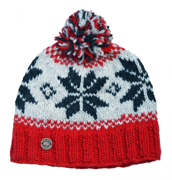 pure wool - snowflake bobble hat - Bright red/Grey