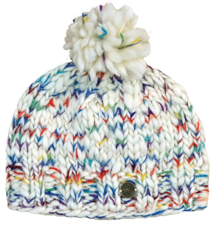 Hand knit - Pure Soft Wool bobble hat - White/rainbow