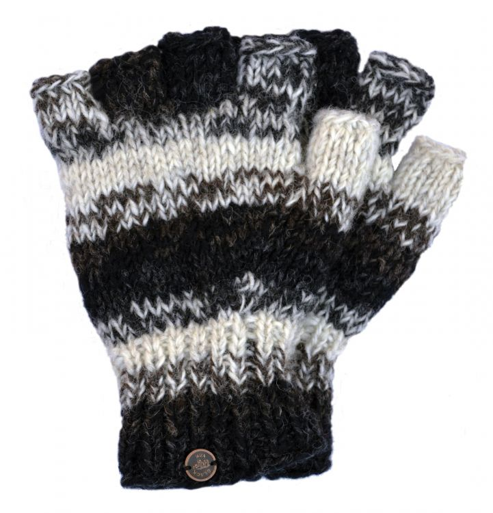 Pure wool - electric stripe - fingerless gloves - greys/natural