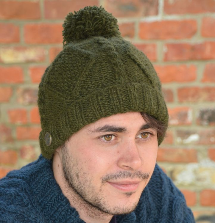 Celtic bobble hat - turn up - dark green