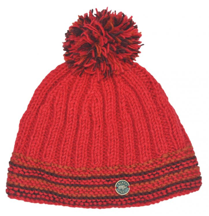 Ribbed bobble hat - pure wool - fleece lining - red