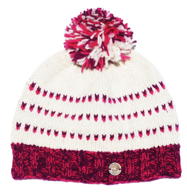 Pure wool - double tick bobble hat - Pink/Purple