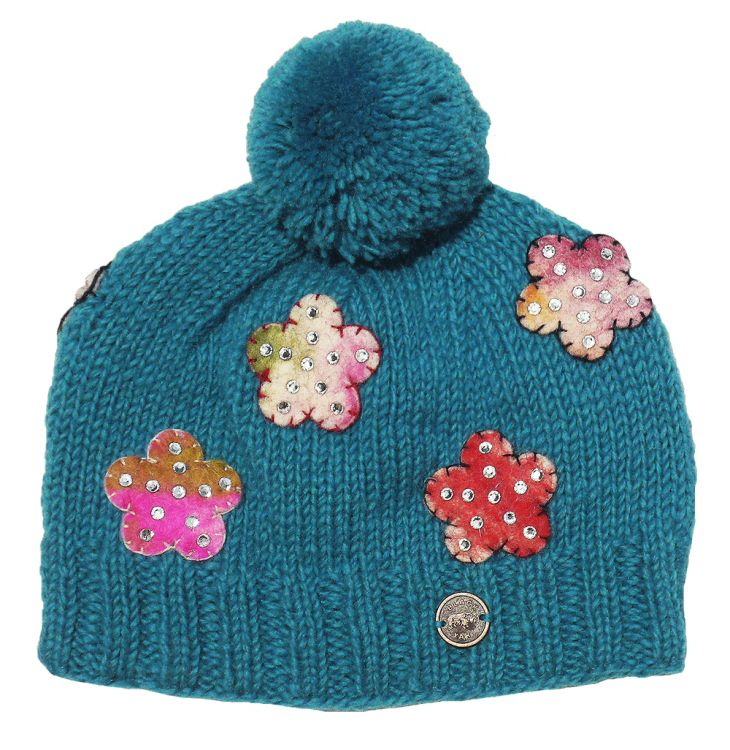 Pure wool - half fleece lined - felt flower - sparkle bobble ... c3f70d1b05d8