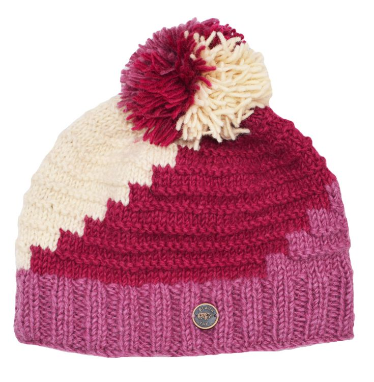 Half fleece lined - reverse ridge bobble hat - Berry