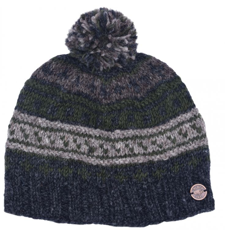 Pattern ridge bobble hat - pure wool - fleece lining - greys / moss