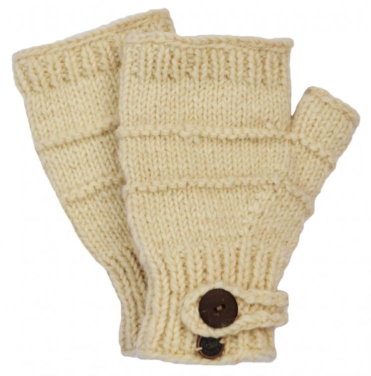 Fleece lined - half mitt - ridge - Natural white