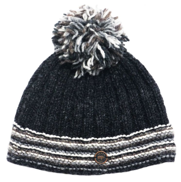 half fleece lined - ribbed bobble hat - Charcoal