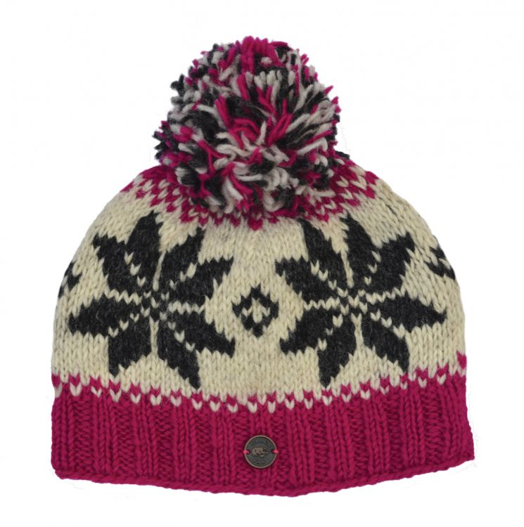 pure wool - snowflake bobble hat - Pink/Grey