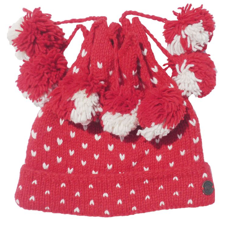 pure wool - seven bobble tick hat - Red