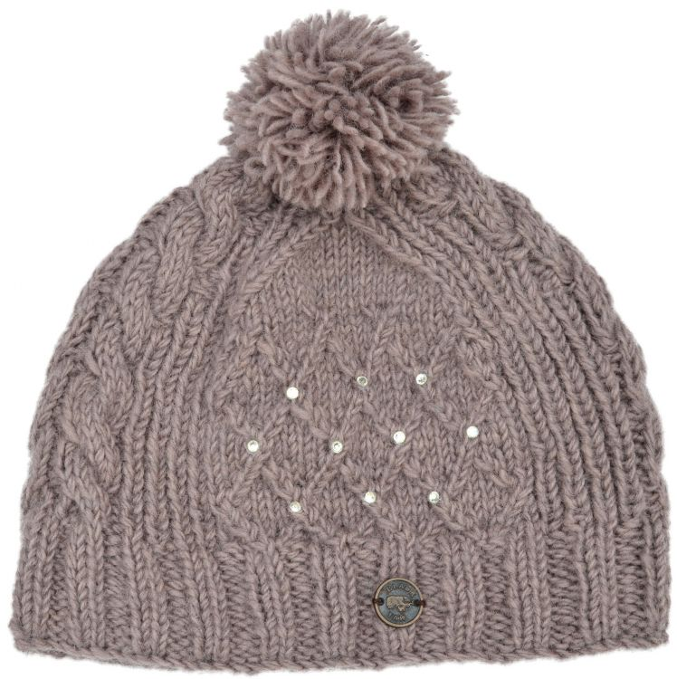 Trellis sparkle bobble hat - hand knitted - fleece lining - haze