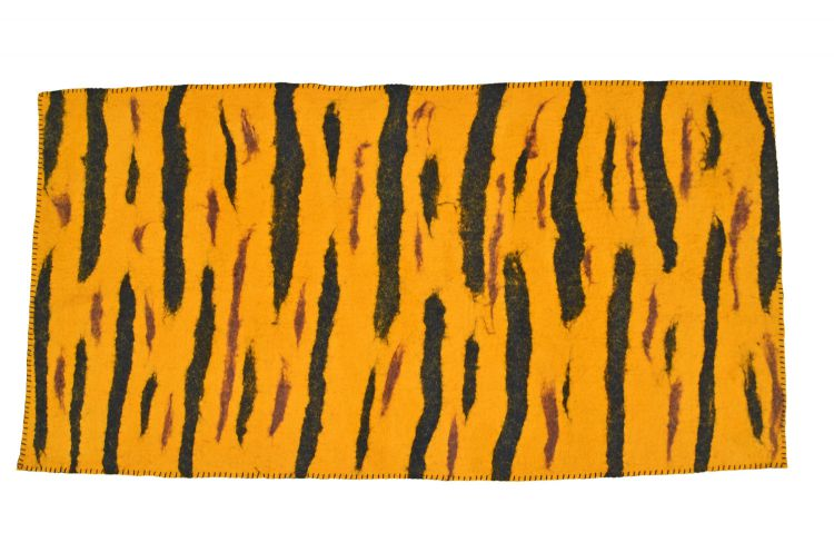 Hand felted wool - rug - tiger stripe design