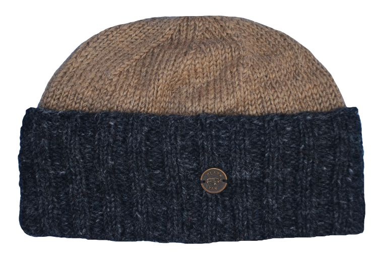Hand knit - watchman's beanie - Camel/charcoal